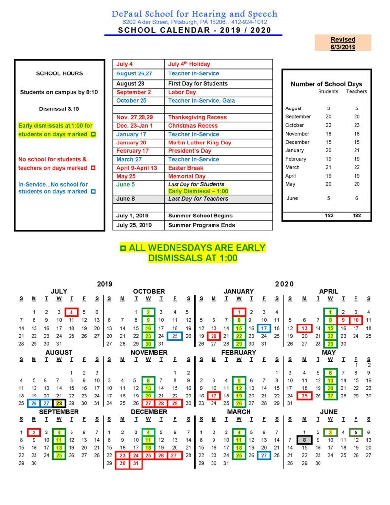 Depaul 2020 Calendar School Calendar   DePaul School for Hearing and Speech